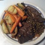 Veal liver in gravy & roasted vegetables