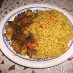 Spicy shrimp rice .