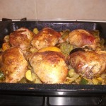 Moroccan style chicken thighs & roasted veg